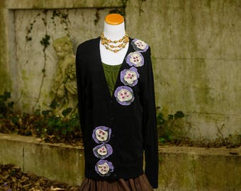 Lagenlook Plus Size 2X Clothing, Plus Size Tops, Boho Clothing, Upcycled Bohemian Sweater, Embellished Altered Couture, Plus Size Sweater