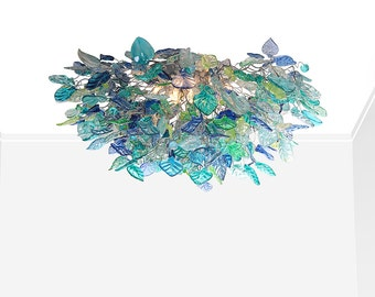 Flush Mount Ceiling Light  with  sea color flowers and leaves, unique ceiling mount light for kitchen, living room or table dinning