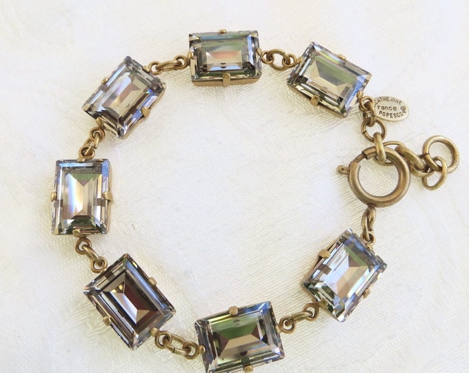 Catherine Popesco Crystal Bracelet, Matte Gold, Emerald Cut Swarovski Crystal Stones, Made in France