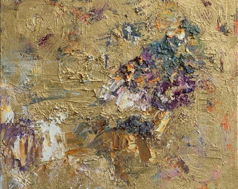 """Original gold Abstract painting , Oil  painting on canvas 17.7"""" x 19.7"""" , contemporary, modern art, wall decor, fine art by Valiulina"""