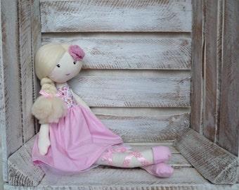 Cloth Rag Doll Handmade Sweet Doll Pink Ballerina Doll
