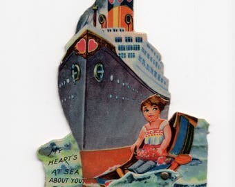 "Antique Die-Cut Mechanical Valentine Card ""Heart's At Sea"" Ocean Liner Ship Boating Theme Printed In Germany German"