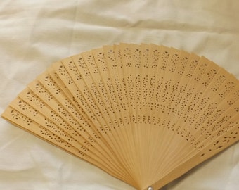 Vintage Balsa/Bamboo Wood Fan with Cut Outs CL25-6
