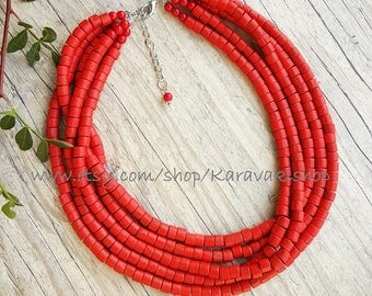 FIVE strand red necklace,Beaded red necklace,Red wood necklace,Red jewelry,Chunky statement red necklace, Red wooden necklace,Red wedding