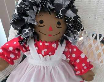 Fabric Hair 20 inch African American Red and White Polka Dot Dress Raggedy Ann Doll Handmade Personalized