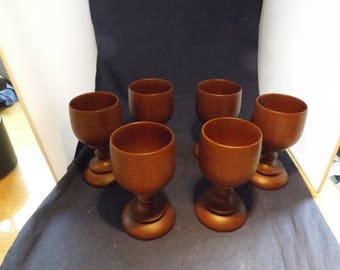 Set of Six Wooden Goblets Cups Puerto Rico