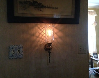 Vintage Solid Brass Sconce Candle Holder with Hurricane Shade