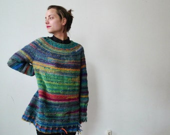 Handmade bright and colourful oversized unisex sweater