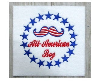 Patriotic Embroidery Design, All American Boy, filled stitch, 2 sizes, Memorial Day, 4th of July