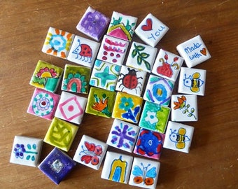 Tiles, Handpainted,Mosaics,Recycled, Mosaic Tiles, Crafts, Art, Mixed Media, ladybug,Abstracts,Colours,Abstracts, Australia