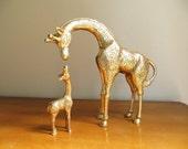Vintage Brass Giraffes Figurine, Brass Figurines, Mother and Baby Giraffe Figurines, Brass African Animal Statues, Pair