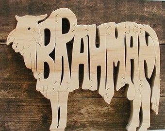 Brahman Cow Toy Puzzle ( Larger Puzzle Pieces) Cut On Scroll Saw