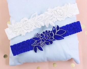 Ivory and Blue Flower Wedding Garter Set, Royal Blue Toss Garter,Ivory Lace Wedding Garter,Something Blue