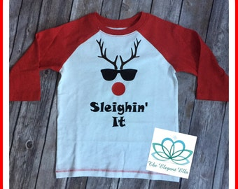 Boys Christmas shirt, toddler Christmas shirt, Sleighin' it , Holiday shirt