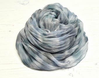 Hand dyed gray silk scarf | shades of grey | silk chiffon scarf |