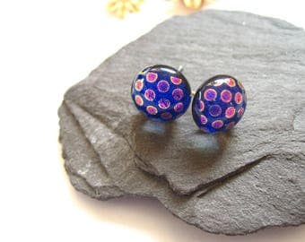Blue dots studs -  Dichroic post type, for her glass Earrings -  Fused blue glass stud earrings, cerise, cobalt, weddings, bridesmaid, ER113