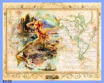 Old map fabric etsy studio antique map mermaid fabric block old world illustration vintage postcard mermaiden print digital collage gumiabroncs Gallery