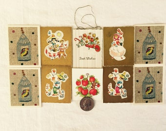10 Miniature Gift Enclosure Cards, Charming Graphics, MCM, Bird Cage, Folk Costume, Denmark, West Germany, Hallmark, Teeny Tiny Cards