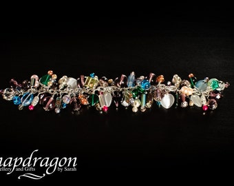 Carnival bracelet,  silver plated with assorted glass beads