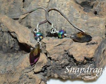 Sterling silver purple AB faceted drop earrings.