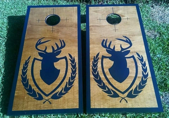 painted no vinyl hunting design custom design painted cornhole boards