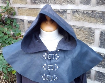 Leather Hood in Black and Dark Brown for Larp, Cosplay, Medieval Banquet, Costume, Buckle Fastening