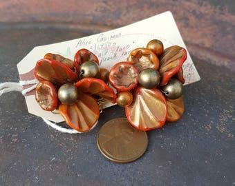 Vintage Earrings with Handmade Beads