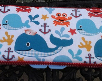 wipe case Little boy with fun whales and other under water friends