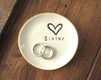 Ring dish, wedding ring holder, Sister gift, Gold edge, Gift Boxed, In Stock