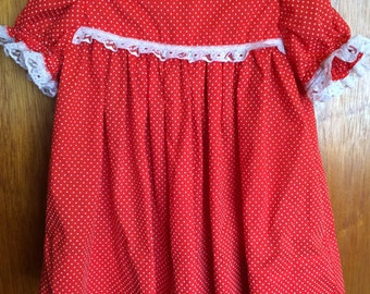 "Vintage Red and White polka dot dress with puffy sleeves and lace trim. Looks like 12-18M. 16"" long FREE SHIPPING"