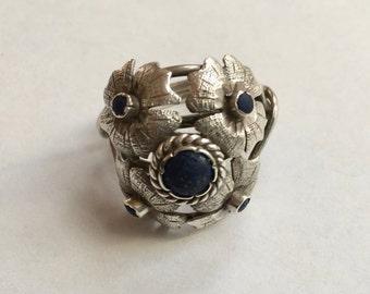 vintage sterling flower ring, size 8.25
