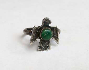 old sterling and green turquoise thunderbird ring, size 8