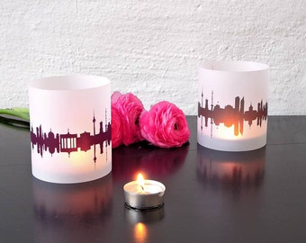 BERLIN windlight set of 2 lanterns, romantic candlelight in fume and plum, City Shade BERLIN, for Berlin Lovers, Honeymoon in Berlin,