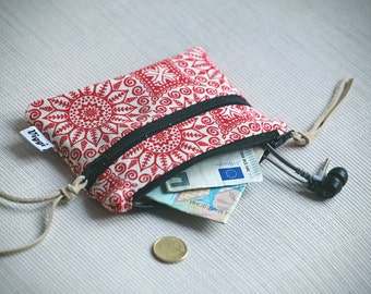 Double Zippered Coin Purse, Boho Zipped Wallet, Gypsy Card Holder, Minimalist Womens Wallet, Mens Change Pouch
