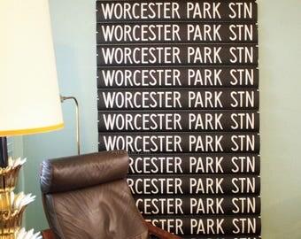 Bus Blind Roll Sign Worcester Park London England UK Designer Wallpaper Art Vtg