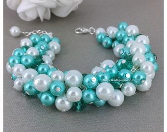 Aqua and White Cluster Pearl Bracelet, Pearl Cluster Bracelet, Bridesmaid Jewelry, Bridesmaid Gift, Wedding Bracelet, Aqua Bracelet