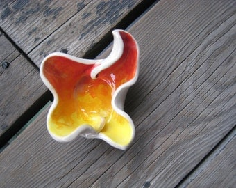 Abstract Fire Dish - Little Ceramic Dish - Tiny Trinket Tray - Small Jewelry Dish - Cone Incense Holder - Tea Bag Rest - Soy Sauce Dish
