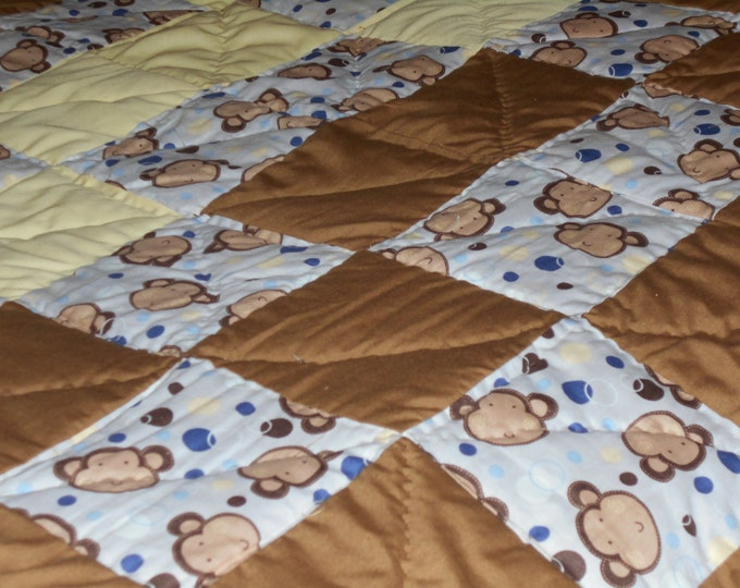 Monkey Face Child Quilt, Animal Quilt, Children s Quilt and Baby Quilt(2)