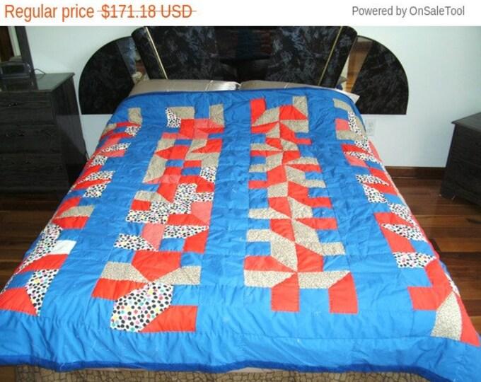 Sale: Patchwork Red & Blue Full Size Bed Quilt Grandmother Vintage Quilt