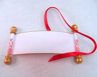 Blank mini scroll with red lace roses, secret message scroll
