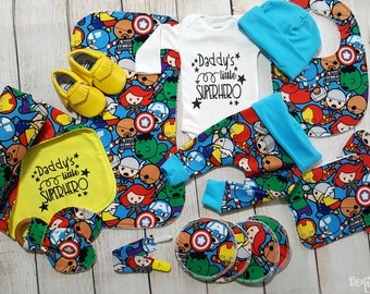 Baby Boy Marvel Superhero Avengers Baby Boy Gift Set Newborn Superhero Coming Home Outfit Gift Set- Daddy's Superhero *2 Purchasing Options
