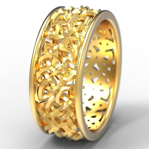 Celtic Wedding Ring With Open Cut-Through Knotwork Design in 10K 14K 18K Gold, Palladium or Platinum Made in Your Size 1140