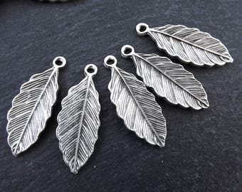 5 Leaf Pendant Charms Earring Bracelet Components Findings Jewelry Making Supplies Matte Antique Silver Plated