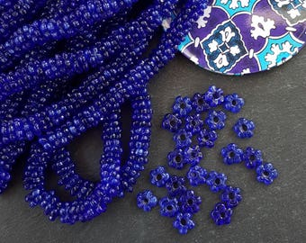 20 Cobalt Blue Mini Flower Artisan Handmade Glass Beads - 13mm - BE149
