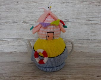 Knitted Tea Cosy Cosie Cozy Pink Beach Hut with Seagull and Bunting Shabby Chic
