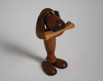 Danish teak wooden dog figurine in Kaj Bojesen style