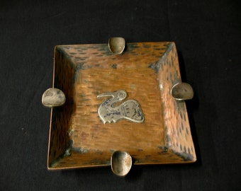 Vintage Peru Copper and Silver Overlay Ashtray Pelican Bird Motif