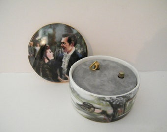 GWTW Music Box The Charity Bazaar plays Music of The Ball, Vintage Gone With The Wind Golden Anniversary fifth issue Scarlett and Rhett