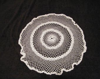 Hand Crocheted doily 22 inch round, vintage center piece table top linen medium to large size