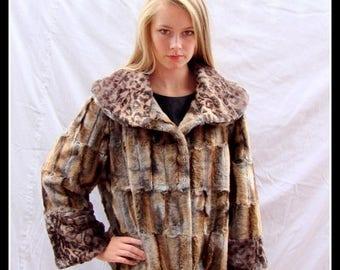 ON SALE vintage faux fur jacket,leopard faux fur,  animal print, faux fur, fur jacket, CARTISSE, Canada, vegan faux fur, size  large